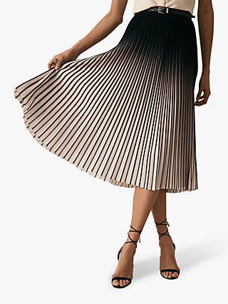 74484963a Reiss Marlie Contrast Pleat Midi Skirt, Neutral/Black