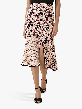 Reiss Eline Spliced Printed Midi Skirt, Multi