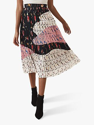 Reiss Olga Floral Pleated Midi Skirt, Multi