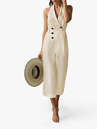 Reiss Giovanna Halterneck Jumpsuit, Buttermilk