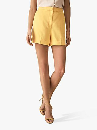 Reiss Haya Slub Shorts, Yellow