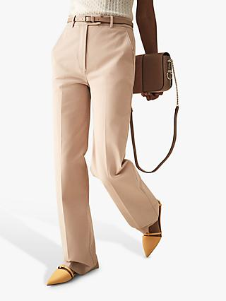 Reiss Grace Wide Leg Cotton Tailored Trousers