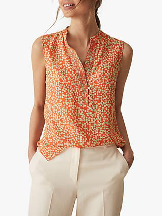 Reiss Cecily Button Detail Silk Top