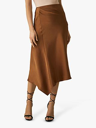 Reiss Aspen Slip Skirt, Cinnamon