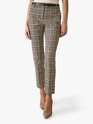 Reiss Joanne Check Trousers, Yellow Check