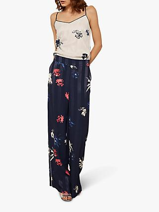 Mint Velvet Grace Stripe Floral Trousers, Black