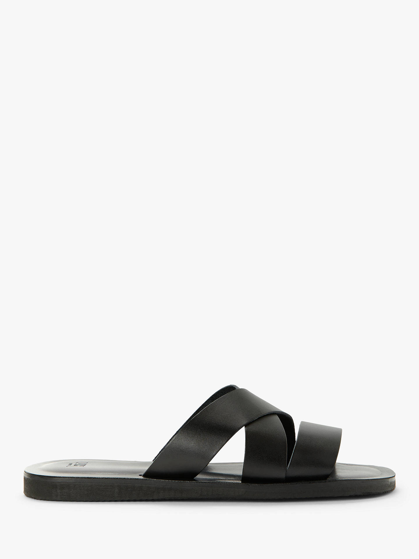 35f213ad0af Kin Made in Italy Leather Cross Sandals, Black at John Lewis & Partners