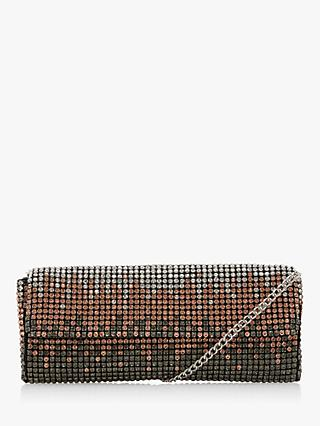 Dune Esparkle Ombre Diamante Embellished Clutch Bag, Pewter Metallic