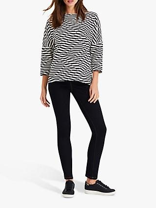 Phase Eight Tiffani Striped Top, Navy/Ivory