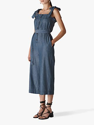 Whistles Tie Shoulder Chambray Jumpsuit, Denim