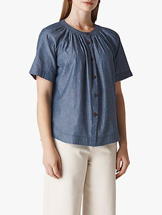 Whistles Pauleth Chambray Top, Denim