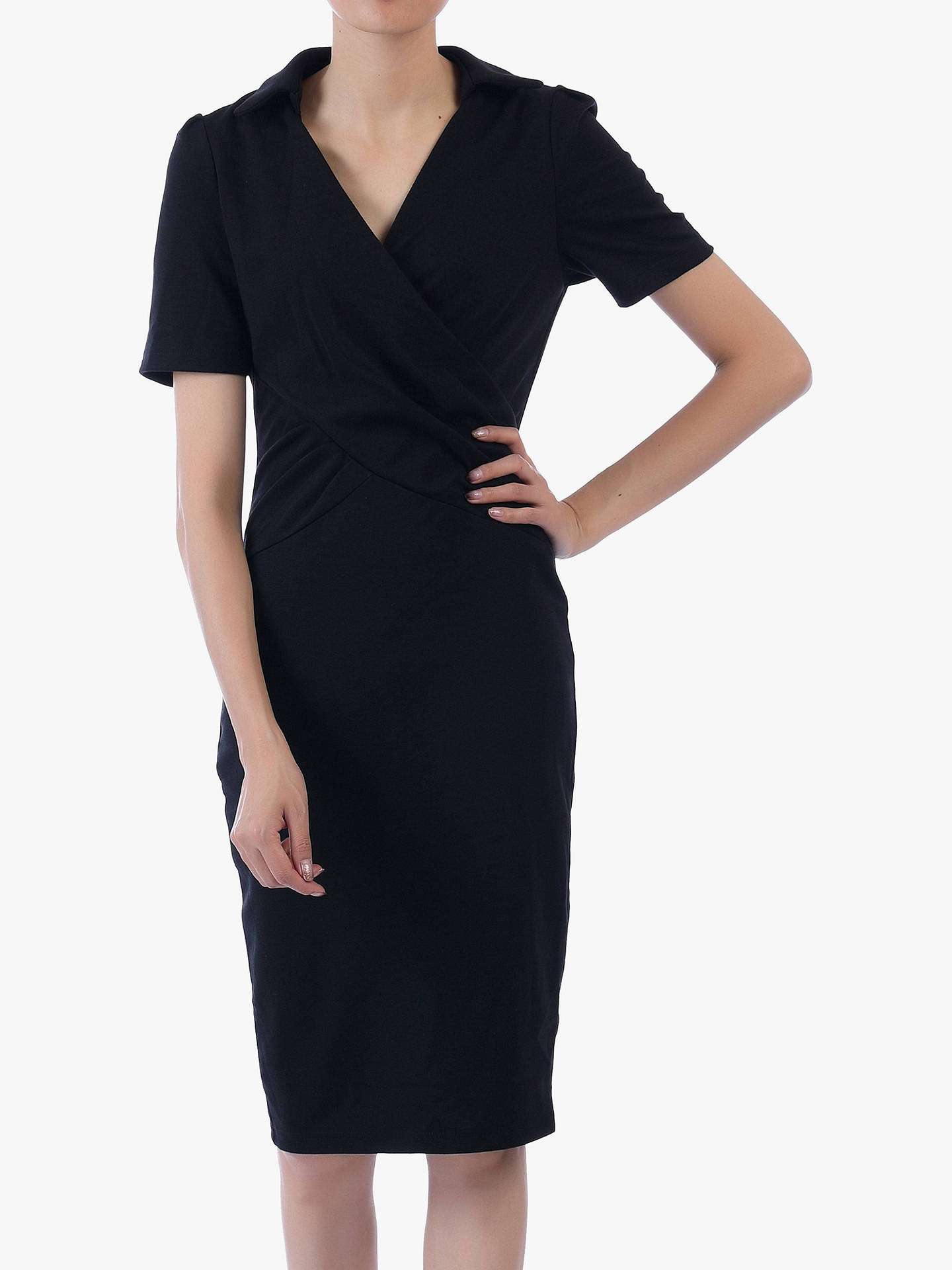 Buy Jolie Moi V-Neck Pencil Dress, Black, 16 Online at johnlewis.com