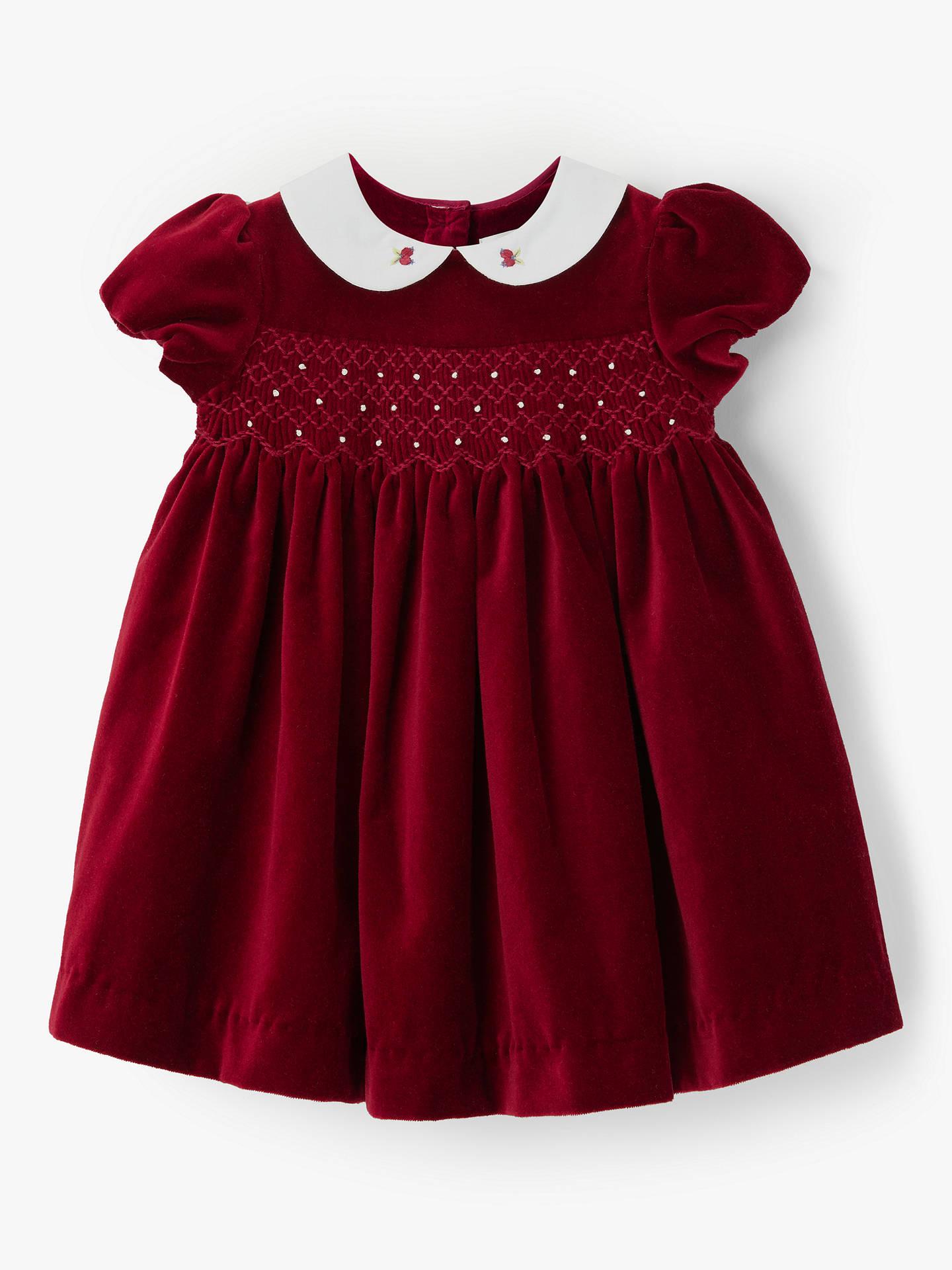John Lewis & Partners Heirloom Collection Baby Velvet Dress, Red