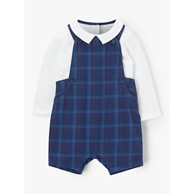 John Lewis & Partners Heirloom Collection Baby Check Bibshort Set, Navy