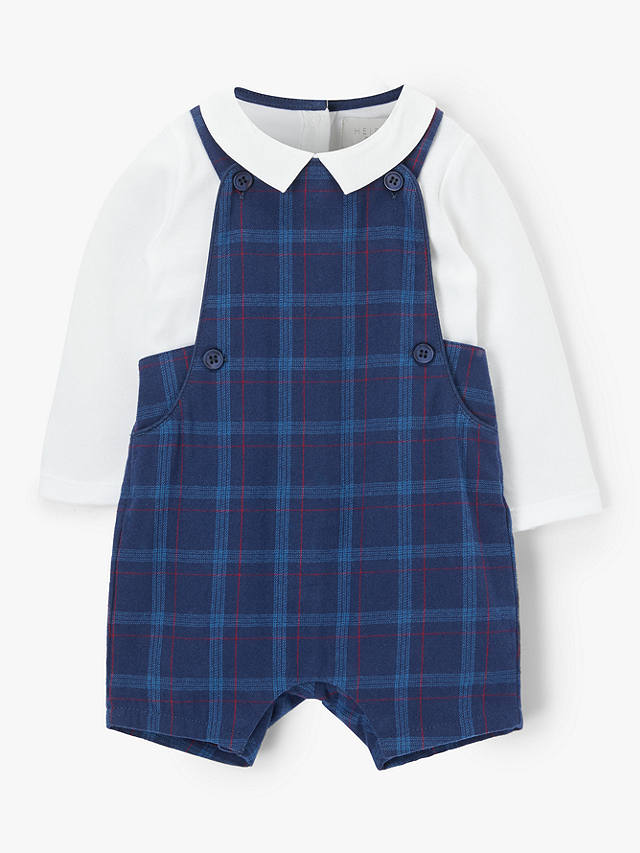 Buy John Lewis & Partners Baby Cotton Check Bibshort Set, Navy, 9-12 months Online at johnlewis.com