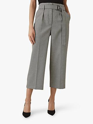 Reiss Mollie Belted Culotte Trousers, Monochrome