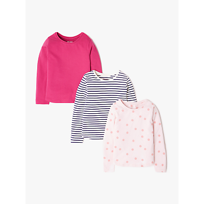 John Lewis & Partners Girls' Spot and Stripe T-Shirts, Pack of 3, Pink
