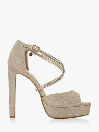 Dune Mickah Diamante Platform Heeled Sandals, Gold