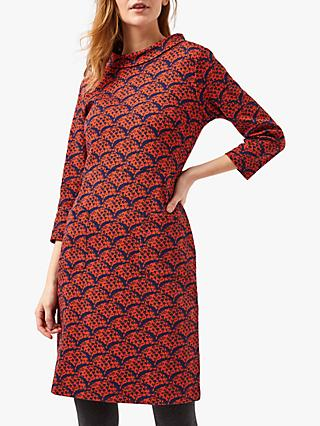 White Stuff Quince Cowl Neck Dress, Red Print
