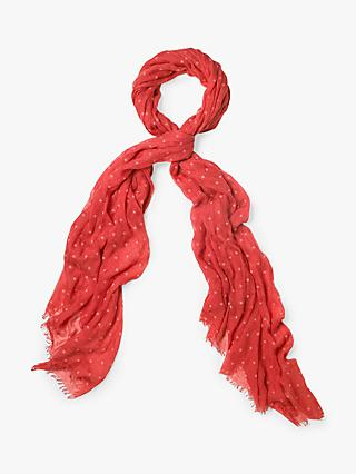 White Stuff Star Flocked Away Scarf, Coral