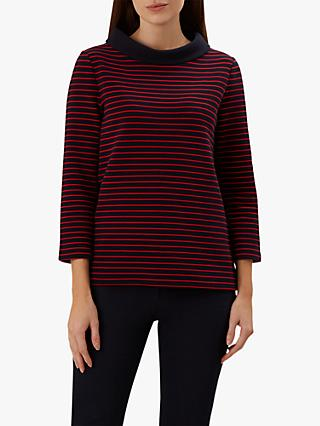 Hobbs Coleta Striped Top, Navy/Red