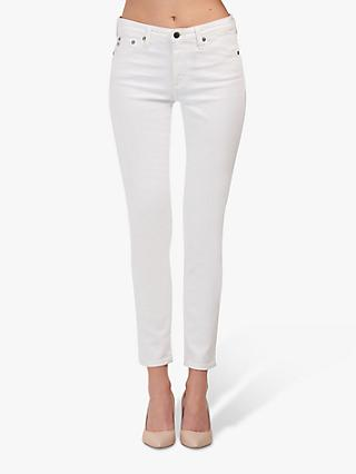 AG The Prima Mid Rise Skinny Ankle Jeans, White