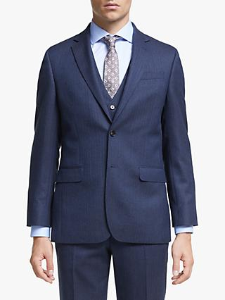 John Lewis & Partners Wool Herringbone Regular Fit Suit Jacket, Royal Blue