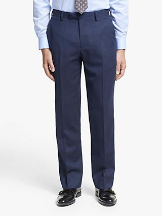 John Lewis & Partners Wool Herringbone Regular Fit Suit Trousers, Royal Blue