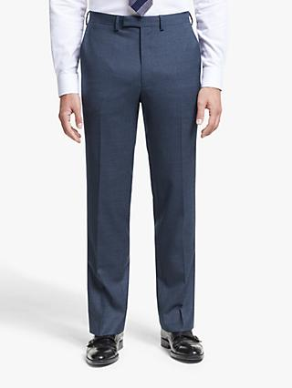 John Lewis & Partners Semi Plain Wool Slim Fit Suit Trousers, Navy