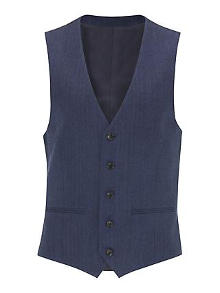 John Lewis & Partners Wool Herringbone Regular Fit Waistcoat, Royal Blue