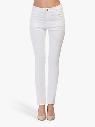 J Brand Ruby High Rise Straight Leg Jeans, Blanc
