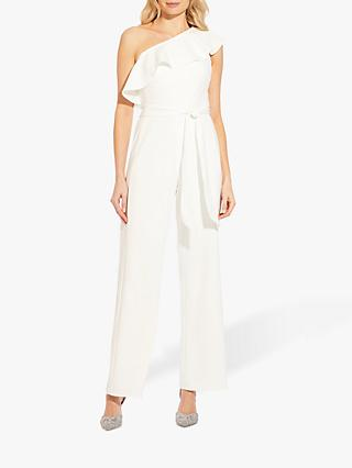 Adrianna Papell Asymmetric Crepe Jumpsuit, Ivory