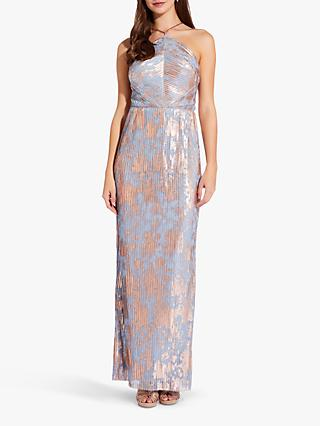 Adrianna Papell Pleated Foil Dress, Slate/Multi