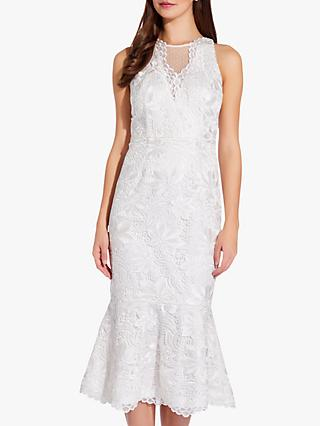 Adrianna Papell Guipure Lace Midi Dress