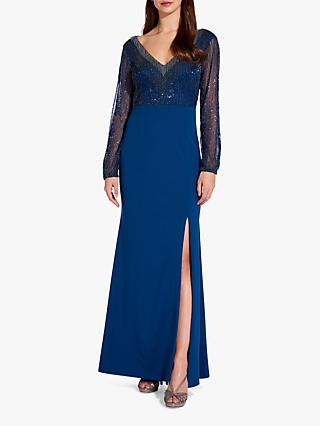Adrianna Papell Blouson Side Split Maxi Dress, Deep Blue