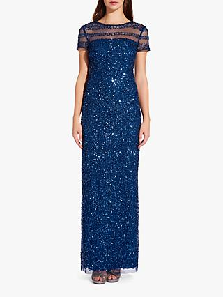 Adrianna Papell Beaded T-Shirt Gown, Deep Blue