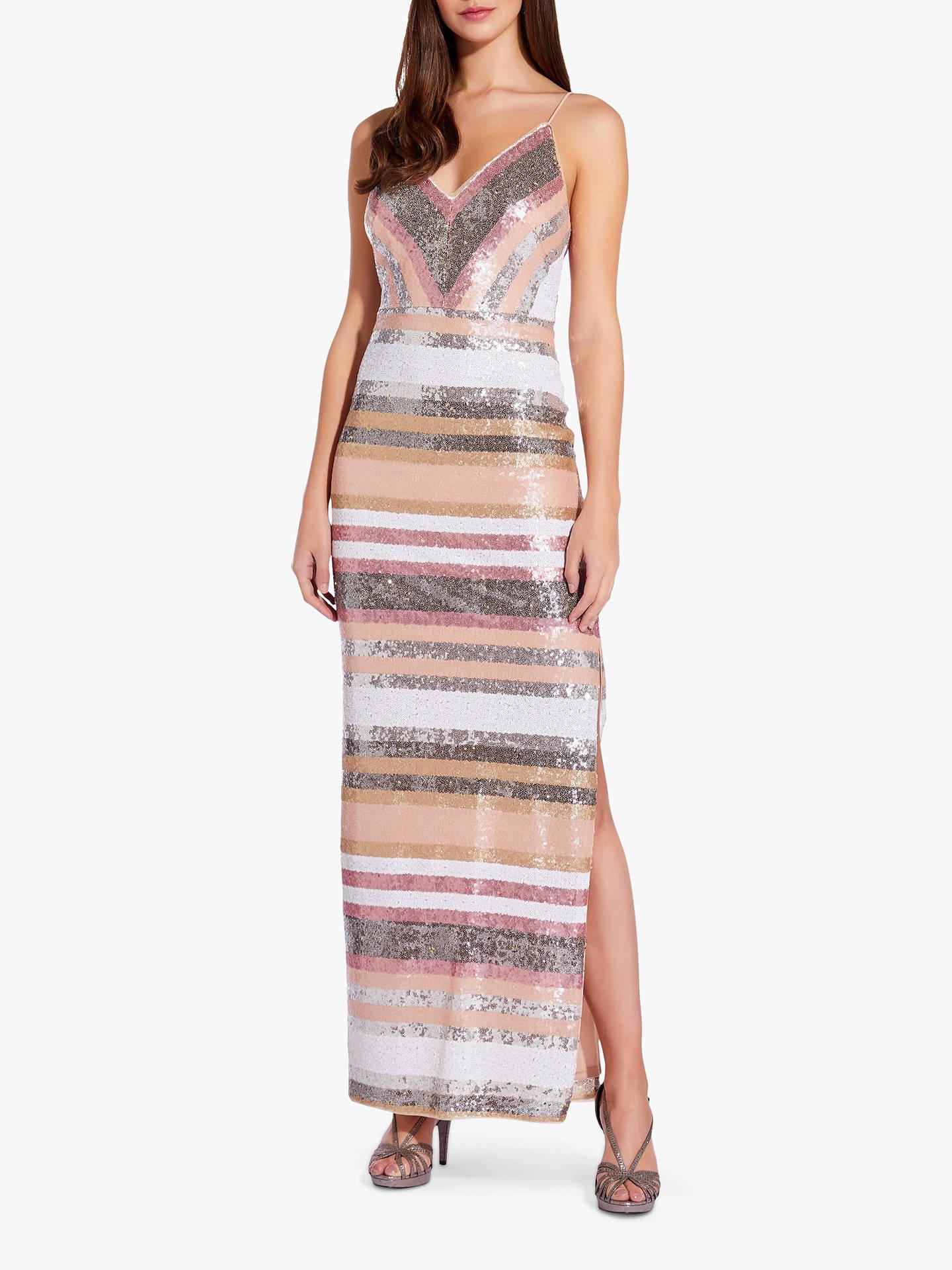 8bedc42b784e9 Adrianna Papell Sequin Stripe Spaghetti Strap Gown, Metallic Blush