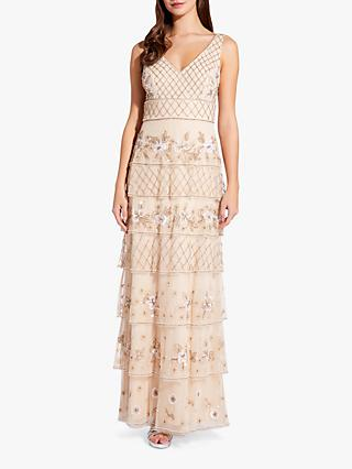 Adrianna Papell Tiered Bead Gown, Pale Nude