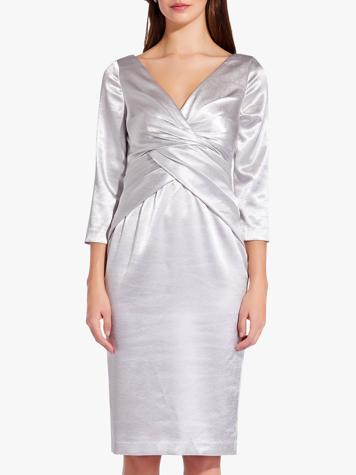 Buy Adrianna Papell Satin Fold Waist Dress, Moonlight, 14 Online at johnlewis.com