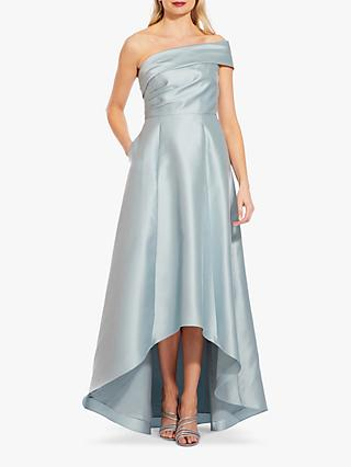 Adrianna Papell Mikado High Low Hem Gown, Aqua Dust