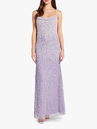 Adrianna Papell Spaghetti Strap Bead Dress, Lilac Grey