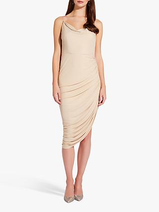 Adrianna Papell Foil Jersey Asymmetric Hem Dress, Almond