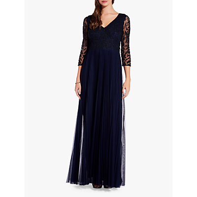 Adrianna Papell Long Sleeve Beaded Gown, Midnight