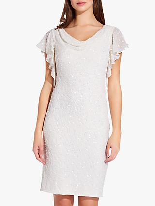 Adrianna Papell Drape Sleeve Bead Mini Dress, Ivory