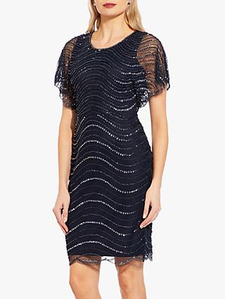 Adrianna Papell Scallop Edge Beaded Dress, Midnight