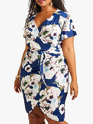 b97eeee7710 Yumi Curves Abstract Floral Wrap Dress