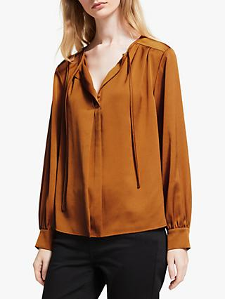 John Lewis & Partners Long Sleeve Pleat Detail Top