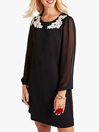 Yumi Floral Sheer Flute Sleeve Dress, Black