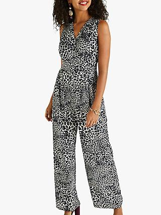 Yumi Leopard Print Sleeveless Jumpsuit, Black