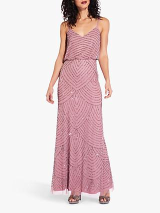 Adrianna Papell Beaded Pattern Maxi Dress, Rose/Mercury